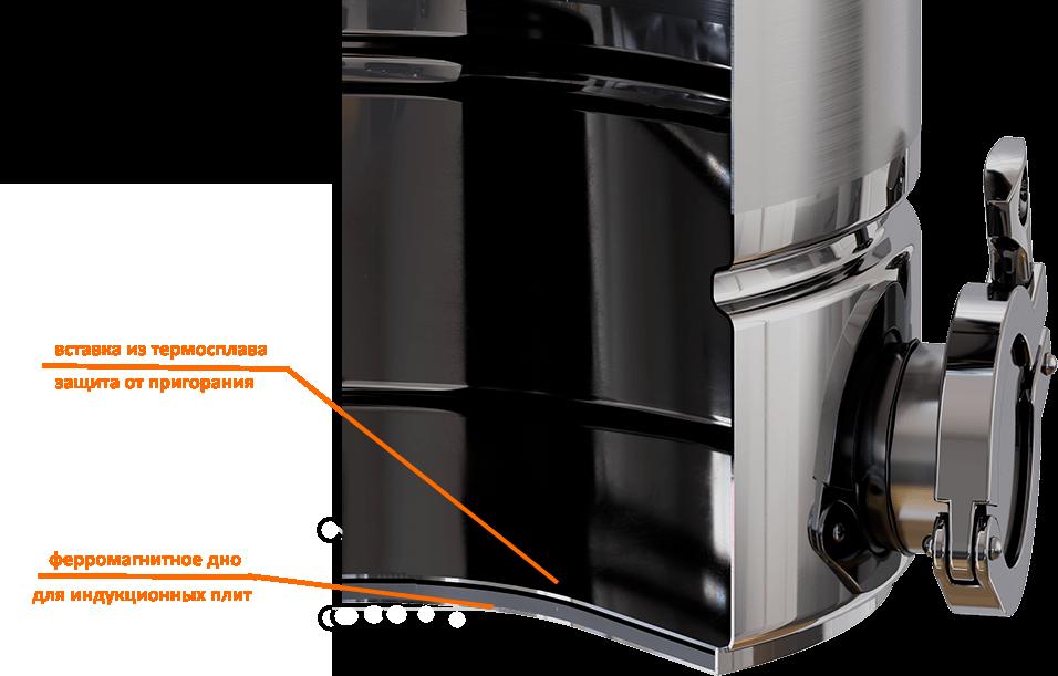 Многослойное дно самогонного аппарата с ферромагнитными вставками